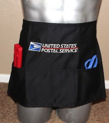 USPS Postal WAIST Apron With Postal Logo Embroidered on Front with Pockets BLACK
