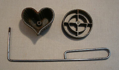 Vintage Griswold Cast Iron Heart & Circles Pastry Cookie Timbale Iron Handle