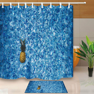 PINEAPPLE IN SWIMMING Pool Shower Curtain Bathroom Set Polyester Fabric  71inch
