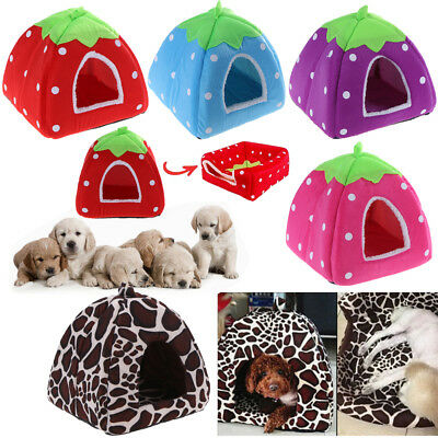 Soft Strawberry Pet Dog Cat Igloo Bed Puppy Cushion House Warm Kennel Blanket
