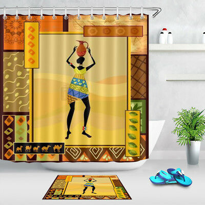 BATHROOM DECOR AFRICAN Woman Model Waterproof Fabric Shower Curtain ...