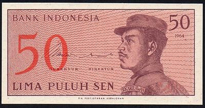 1964 INDONESIA 50 SEN BANKNOTE * BWH 047210 * aUNC * P-94a *