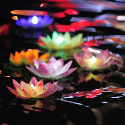 Colorful LED Changed Floating Flower Lamps Water Swimming Pool Wishing Light New