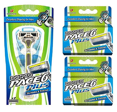 Dorco Pace 6 Plus Razor for Men Ultra-sharp six blade Design 10 Blades 1 Handle