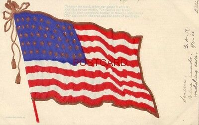 pre-1907 American flag  CONQUER WE MUST, WHEN OUR CAUSE IS JUST 1906