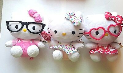"""Hello Kitty SANRIO TY Beanie Babies Lot of 3 Hearts Polka Dots Overalls Apx 6"""""""