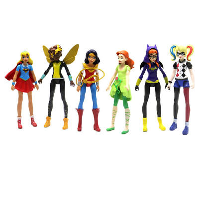 US 6PCS/Set DC Comics Super-Hero-Girls-Harley-Quinn-Batgirl Kid Figures Doll Toy