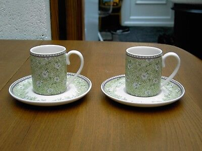 2 x Denby Monsoon Daisy Espresso Cup & Saucers In Very Good Clean Used Condition