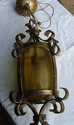 Vintage Wrought Iron Gothic Scroll Design Hanging Lamp Fluted Round Amber Glass