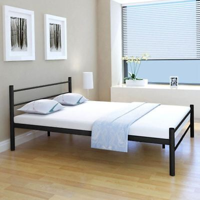 vidaxl metallbett doppelbett bett mit memory matratze metall schwarz 140x200 cm eur 161 99. Black Bedroom Furniture Sets. Home Design Ideas