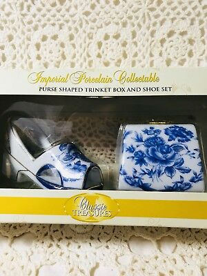 Porcelain Vanity Set, Trinket Box And Vintage Shoe In Blue pattern Pretty!