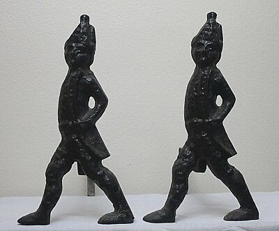 Antique Andirons Hessian Soldier Virginia Metal Crafters Cast Iron America 1800s