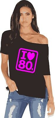 new 80`S. off the shoulder ladies retro hot t shirt  SIZE xs to 5x
