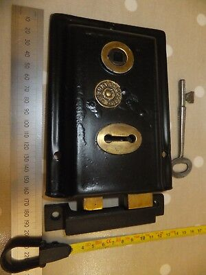 Original Reclaimed Victorian / Edwardian Rim Lock No. 7 with keep and key