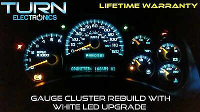 03 06 Chevy Silverado Sdometer Instrument Cer Gauge Repair W White Led S