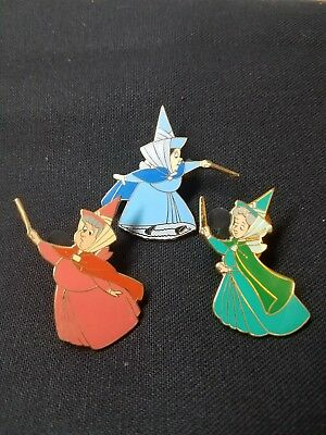 Disney Sleeping Beauty Flora Fauna Merryweather Pin Set