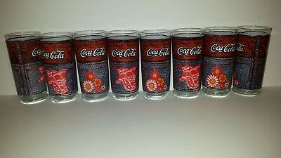 SET OF 8 Vintage Coca-Cola McDonalds THE DENIM COLLECTION Glasses Coca Cola Lot