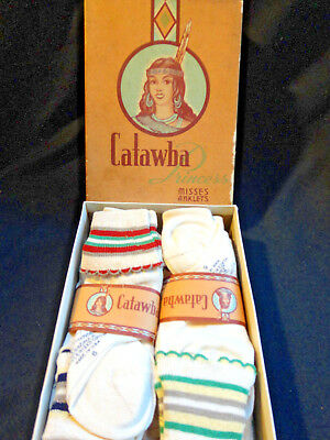 "1950S ""catawba Princess"" Unused Box Full Children Anklets Socks-Stripes-Fabulous"