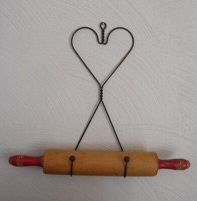Vintage Red Handles Wood Rolling Pin with Wire Heart Hanger ~ Farmhouse Retro