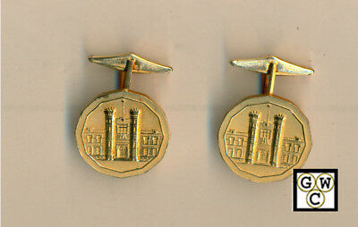 Goldtone ROYAL CANADIAN MINT BUILDING Design CUFFLINKS in Orig BOX (OOAK)