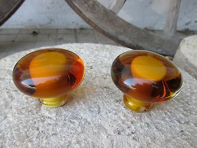 Vintage Large Pair Door Knob Pull in Glass Crystal Murano Beautiful Amber Color