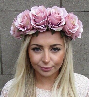 Large Nude Blush Pink Rose Flower Garland Headband Festival Boho Hair Crown 4919