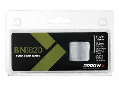 Arrow BN1820 Brad Nails 32mm 18g Pack 1000