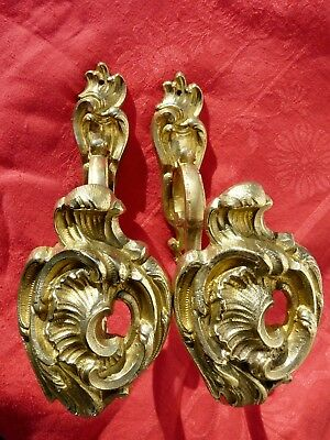 Antique Brass Gilt Curtain Tie Back Hooks Louis Xv Style