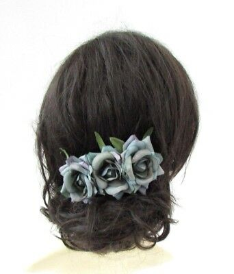 Triple Petrol Grey Rose Flower Hair Comb Bridesmaid Fascinator Rockabilly 4922
