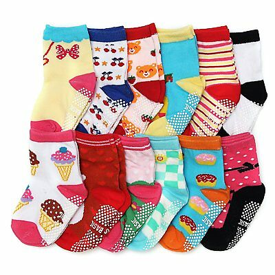ShoppeWatch 12 Pairs Baby Toddler Socks with Grips Anti-Slip Non-Skid Bottoms 2T