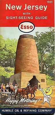 1961 Esso Road Map New Jersey with Sight-seeing Guide
