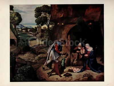 Adoration of the Shepherds Painting by Artist Giorgione Vintage Art Print