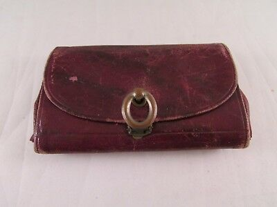 """Antique Vintage Leather Wallet Coin Purse Reddish Brown Small 3 3/4"""" x 2 1/2"""""""