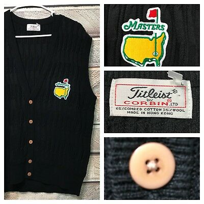 Titleist by Corbin NWOT Black Cardigan Sweater Vest L Large Masters Golf ⛳️🏌️