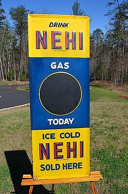 """VINTAGE RARE 30-40's NEHI """"GAS TODAY"""" SODA SIGN UNFINDABLE RARE COLLECTABLE!"""