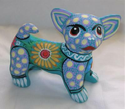 Ceramic Clay Hand-painted Chihuahua Dog Figurine Mexican Folk Art C42