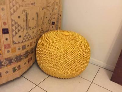 Modern Yellow Knitted round Braided Pouffe Footstool Cushion Chair Chunky Décor