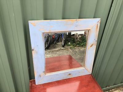 Vintage Rustic Industrial Style Wooden Timber Mirror Blue Décor Mantel Mirror