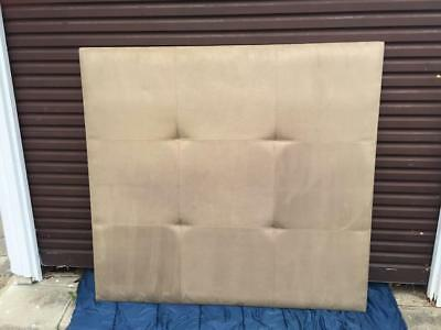 Modern Tan Suede Bedhead Queen upholstered Head Board Cushioned Décor