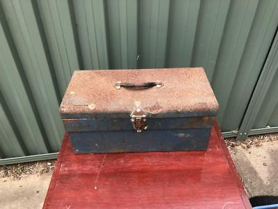Vintage Rustic Industrial Metal Blue Expanding Tool box Fold out trays Workshop