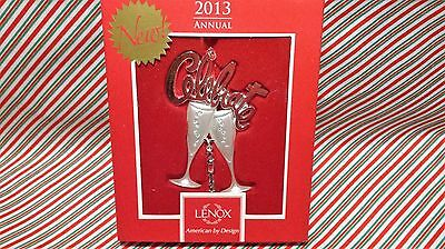"Lexox ""2013 Celebrate Toasting Flute Pair Silver Plated Ornament"" -- New In Box"