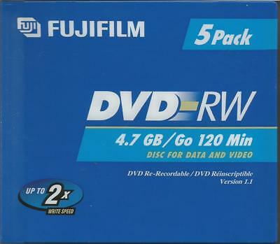 Fujifilm DVD-RW 4.7 GB 120 Min Re-Recordable Data & Video Disks 5 Pack NEW