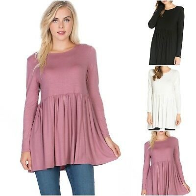 New Spring Solid Color Womens Peplum Babydoll Tunic Top Ivory Black Grey Or Pink