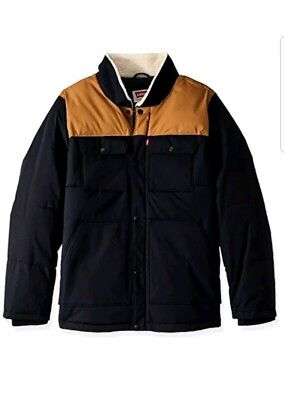 Levi's Men's Big and Tall Mixed Media Quilted Sherpa Shirt Jacket xlarge $200.00