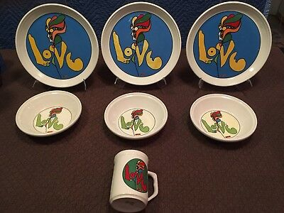 7 piece set of Peter Max Iroquois Love (3) Dinner plates (3) Bowls + 1 Cup