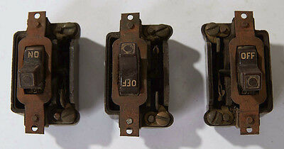 3 Vintage Brown Bakelite Standard On/Off Electric Switches, Renovation Remodel