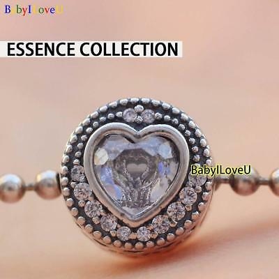 925 Sterling Silver Essence Collection PASSION Charm Clear CZ Charm Fit Bracelet