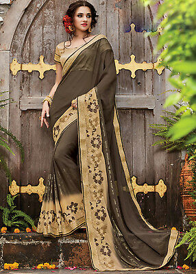 Indian Bollywood Brown Color Georgette Party Wear Embroidered Wedding Saree Sari
