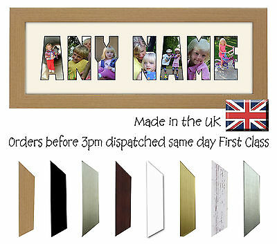 Personalised Photo Frame Name Word Create Design 3 to 8 Letters Photos in a Word