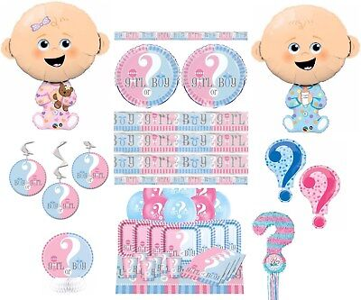 Gender Reveal Baby Shower Party Banners Balloons Plates Cups Napkins Decoration